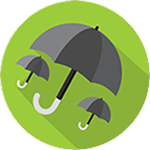 One large umbrella and two small umbrellas inside a green circle