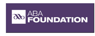 white ABA foundation letters on a purple background