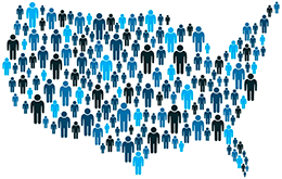 Blue human figures large and small making the outline of the United States.