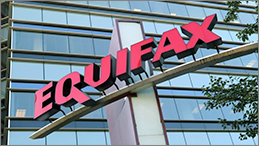 Equifax signage in front of Equifax building.