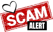 Scam in white on red background with Alert in white on black background.