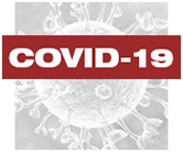 Covid-19 in white letters with red background on top of a virus image