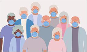 Seniors in Masks Illustration