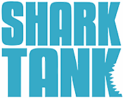 The words Shark Tank in turquoise blue