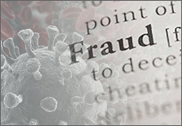 Image of the Coronavirus with the word Fraud superimposed over top