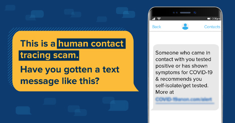 Human contact tracing scam text message