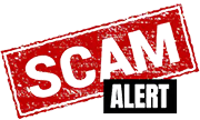 Scam in white letters on red and Alert in white letters on black