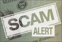US Treasury check with white Scam Alert letters superimposed