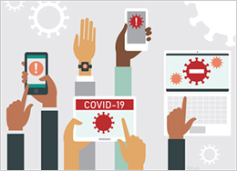 Illustration of hands holding various electronic devices with Covid warnings on them.
