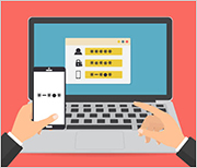 Illustration of person entering two-factor authentication on a laptop.