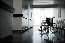 Empty wheelchair in hallway